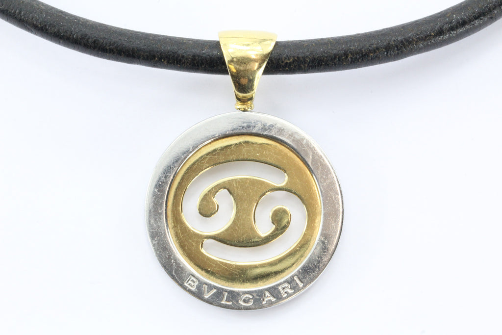 Bulgari Tondo Cancer Zodiac 18K Gold, Stainless Steel Pendant & Leather Necklace