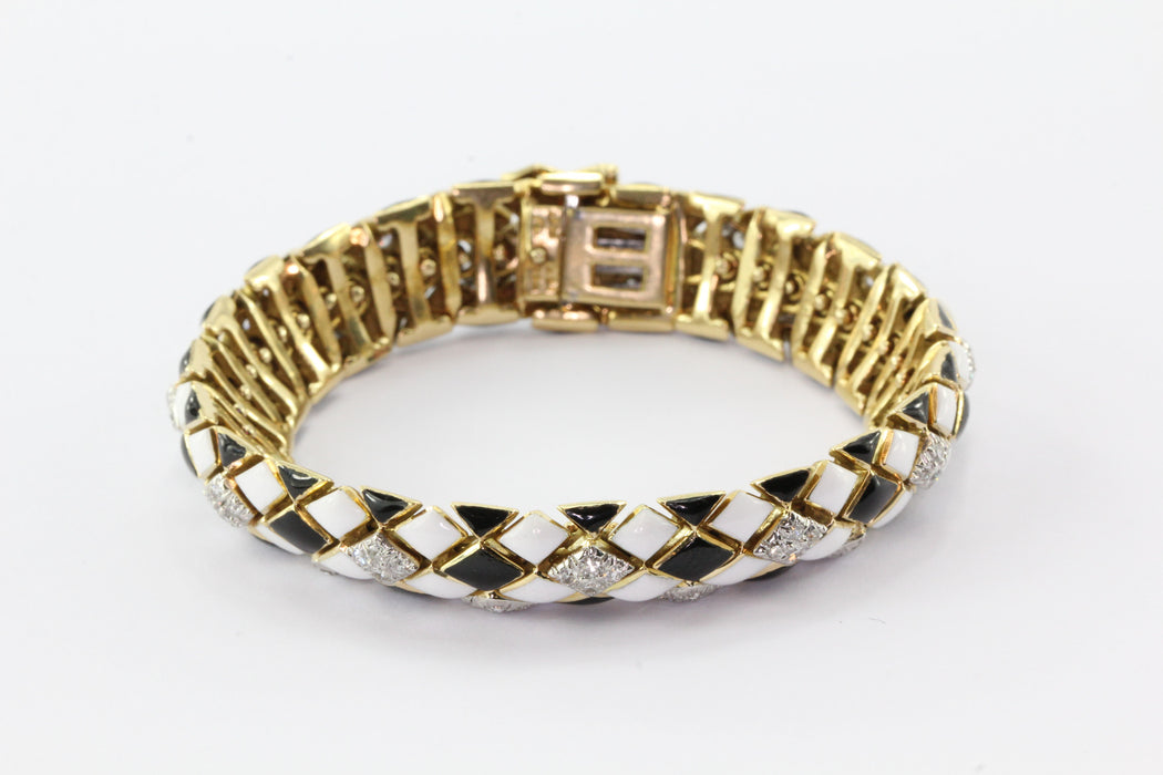 David Webb 18K Gold & Platinum Black & White Enamel & Diamond Flexible Bracelet - Queen May