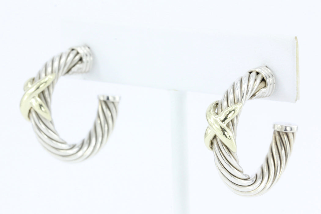 David Yurman X Hoop Sterling Silver & 14K Gold Cable Earrings - Queen May