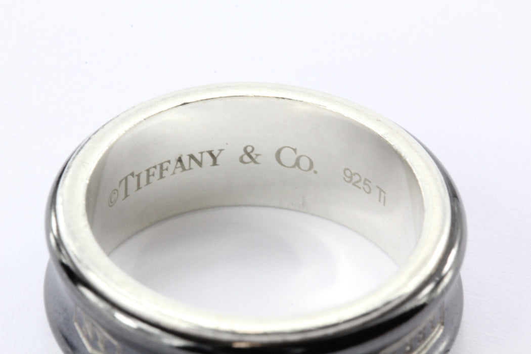 Tiffany & Co Sterling Silver & Titanium 1837 Ring Band Size 8.25 - Queen May