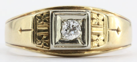 Antique Art Deco 14K Gold Old Mine Diamond Ring Dated June 1939