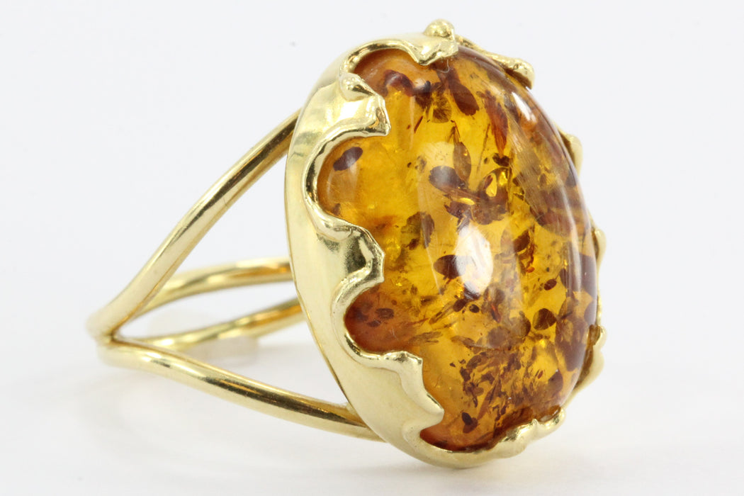Vintage 18K Gold Amber Italian Gothic Revival Ring - Queen May