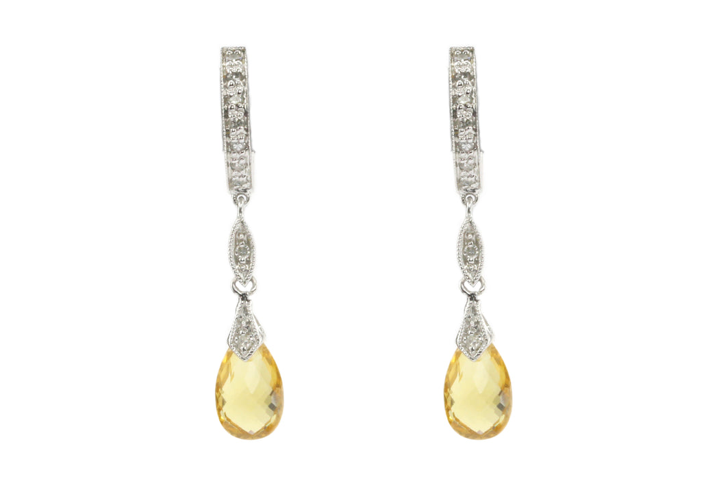 14K White Gold Diamond & Citrine Briolette Dangle Earrings
