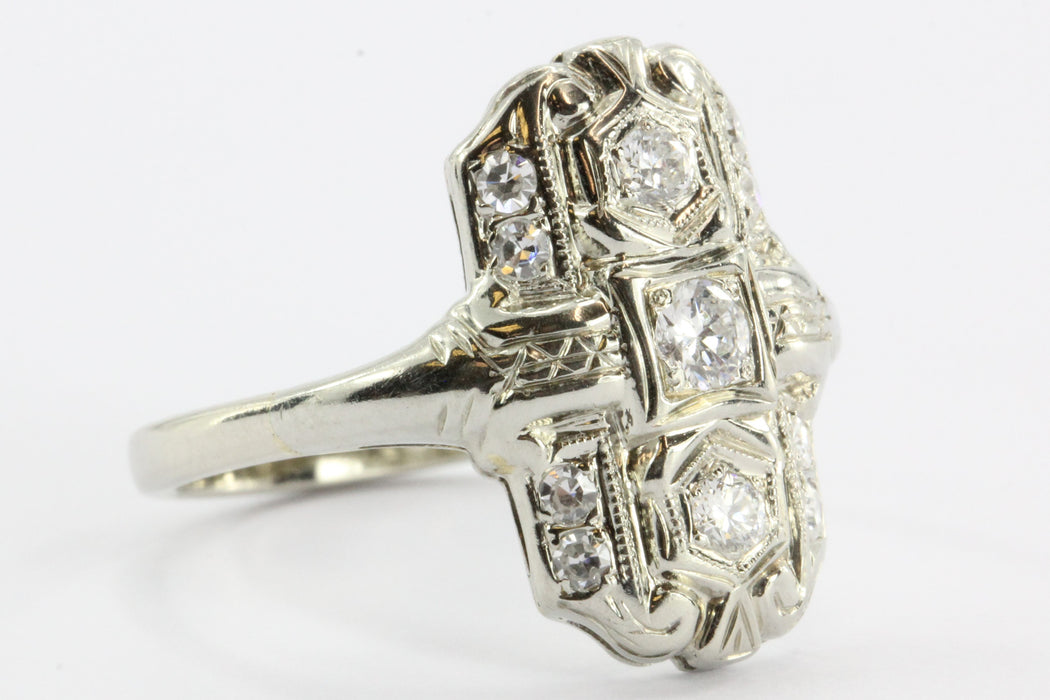 Antique 14k White Gold Art Deco Diamond Ring - Queen May