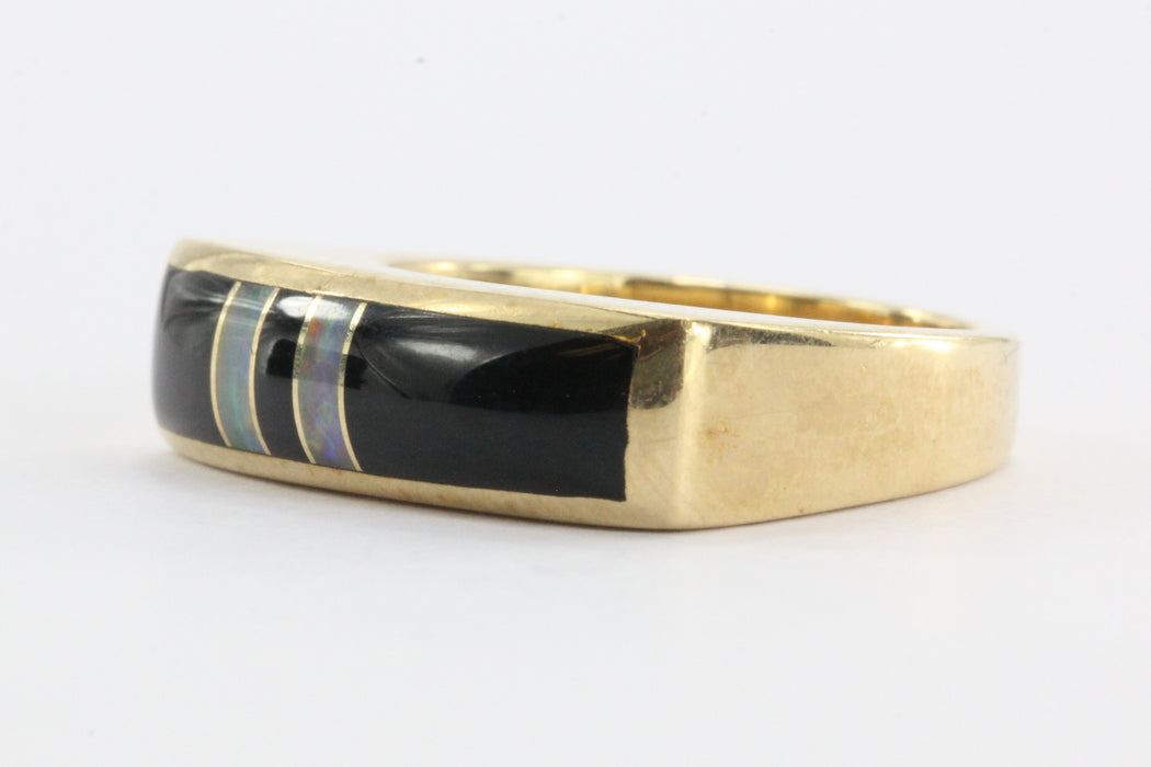 14K Gold Kabana Black Onyx & Opal Band Ring - Queen May
