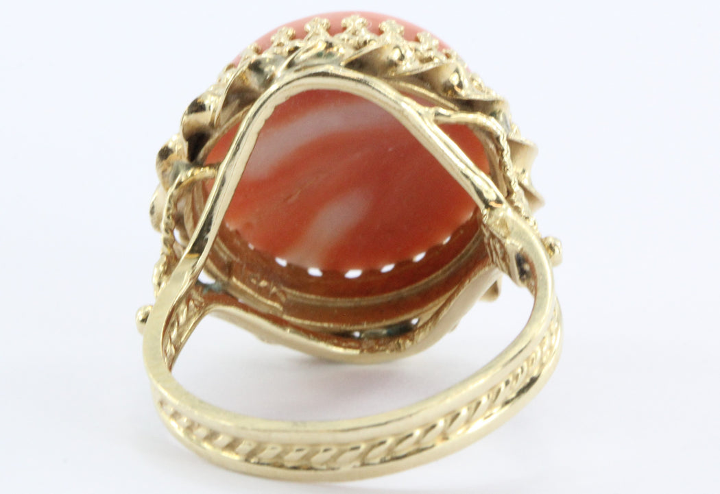Vintage 14K Gold Angel Skin Coral Gothic Revival Ring - Queen May