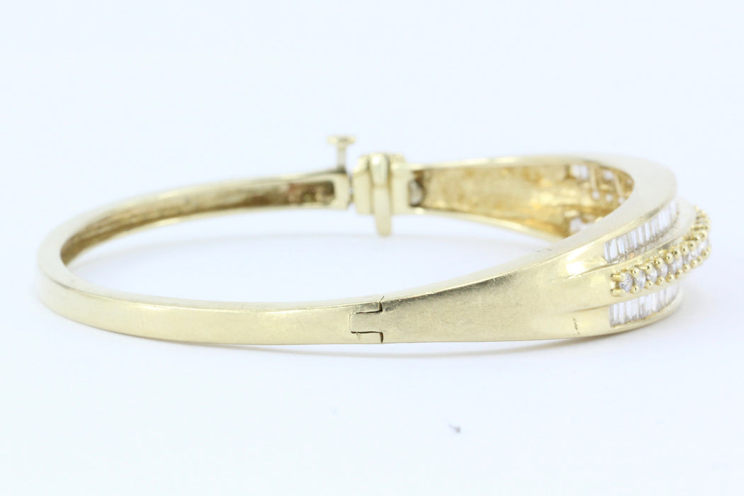 14K Gold 3 Carat Diamond Bangle Bracelet