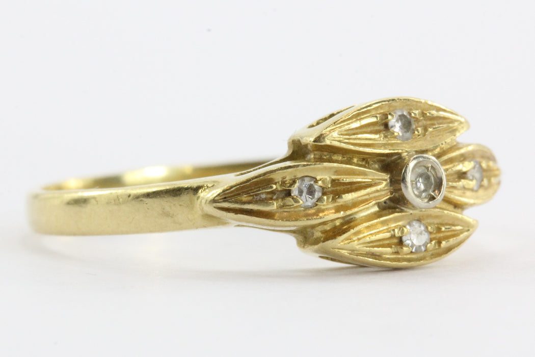 Vintage 18K Gold & Single Cut Diamond Italian Ring - Queen May