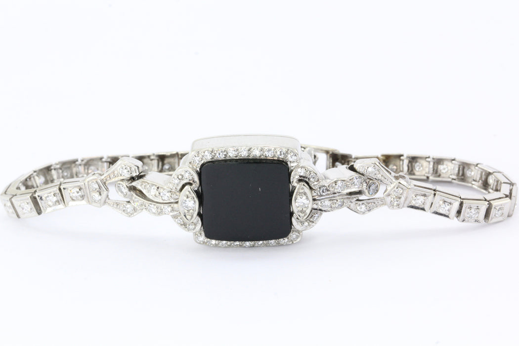 Art Deco 14k White Gold 2 Carat Diamond & Onyx Signet Bracelet - Queen May