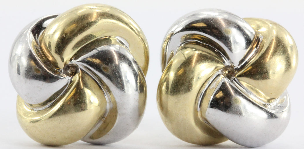 14K White & Yellow Gold Woven Knot Earring Studs