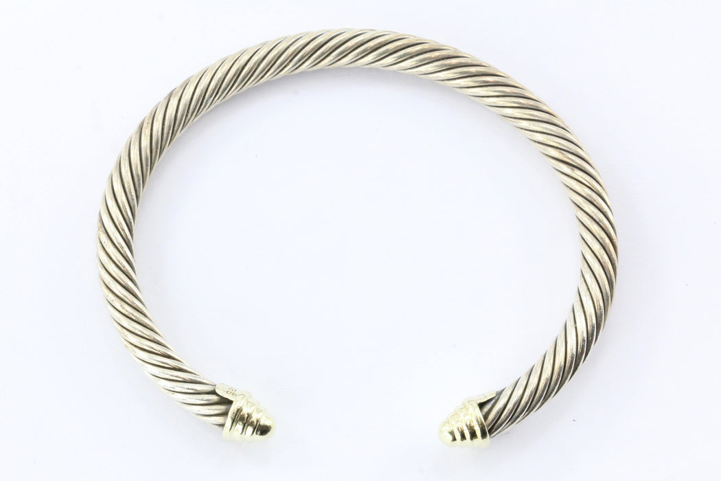 David Yurman Sterling Silver 14K Gold Cable Cuff Bracelet - Queen May