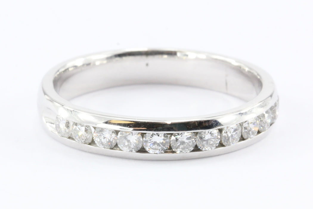 14k White Gold Diamond Half Eternity Band Ring 1/2 CTW Size 7.75
