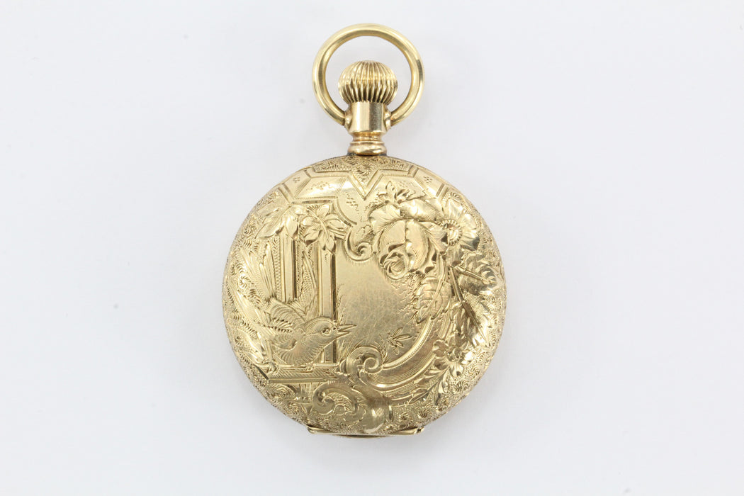 Antique Victorian 14K Gold Hand Chased Bird Pendant Locket Watch Case - Queen May