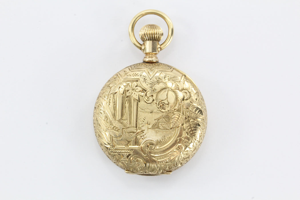 Antique victorian 14k gold hand chased bird pendant locket watch antique victorian 14k gold hand chased bird pendant locket watch case aloadofball Image collections