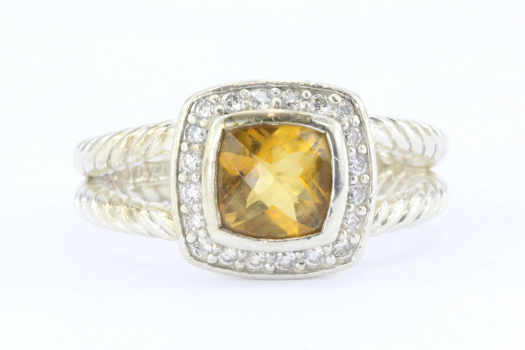 David Yurman Sterling Silver Petite Albion Citrine & Diamond Cable Ring Size 7 - Queen May