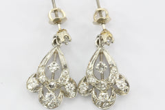 Antique Art Deco 14K White Gold & Diamond Dangle Earrings