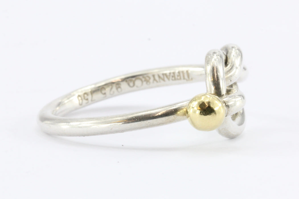 Tiffany Co Sterling Silver 18k Gold Love Knot Ring Size 7 Queen May