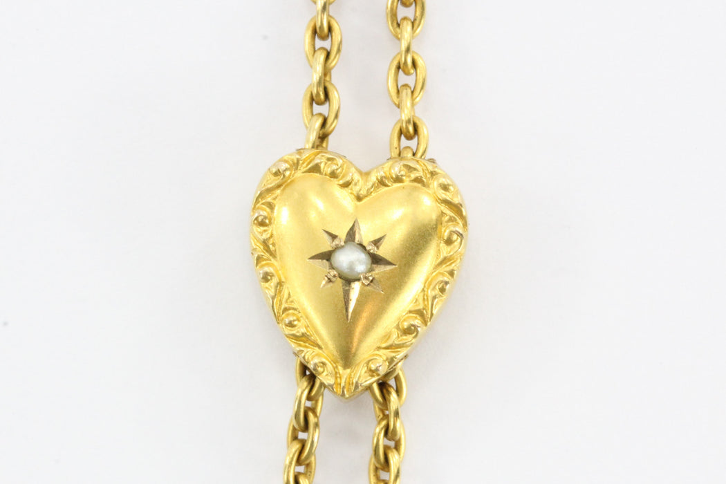 Antique 10K Gold Lorgnette Seed Pearl Heart Slide 14K Watch Fob Necklace Lariat - Queen May