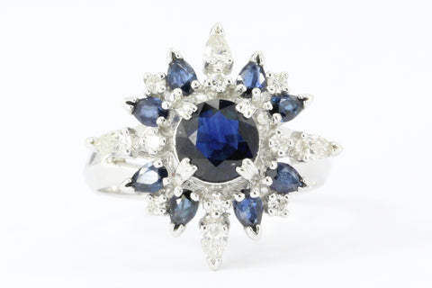 Vintage Faberge Star of the North 18K White Gold Blue Sapphire & Diamond Ring