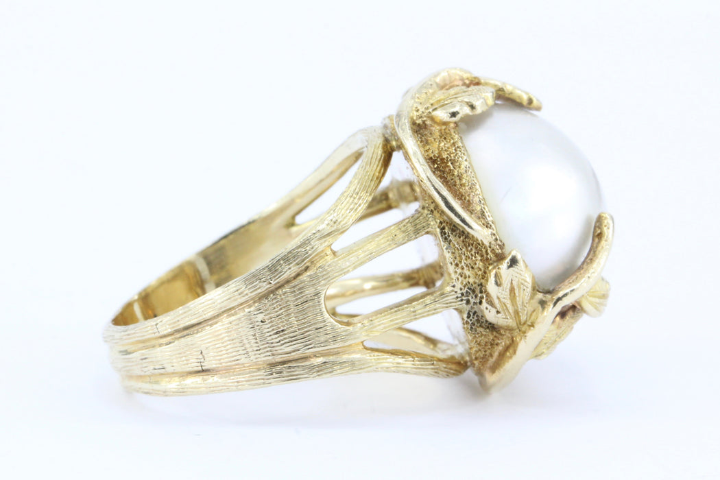 Vintage 14K Art Nouveau Style Crawling Ivy Gold Mabe Pearl Ring - Queen May
