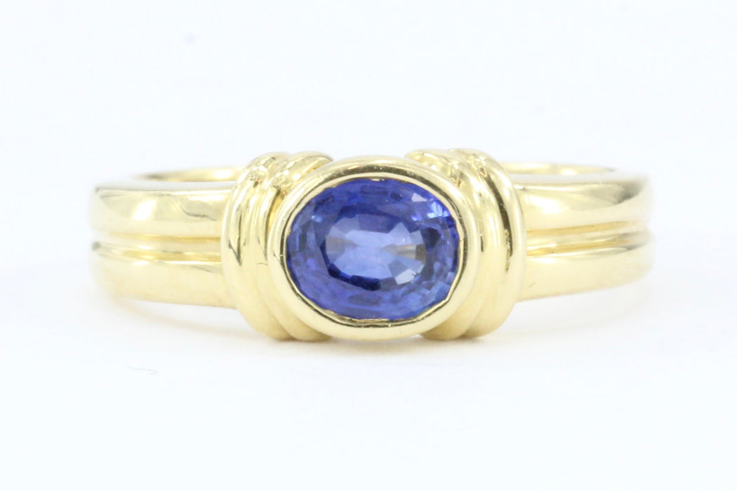 18k Gold .75 Carat Blue Sapphire Ring Band - Queen May