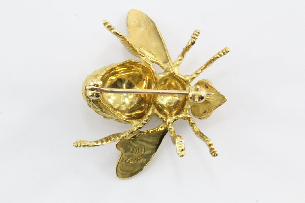Large 18K Gold Herbert Rosenthal Ruby Eye Bee Brooch / Pin - Queen May