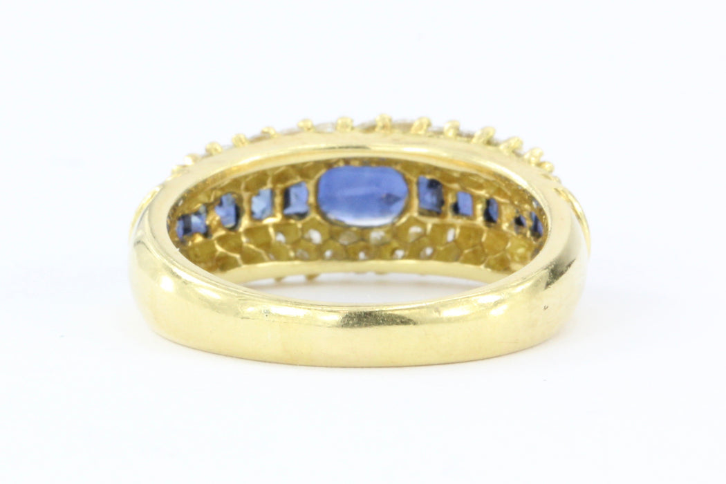 Hammerman Bros 18K Gold Blue Sapphire & Diamond Ring - Queen May