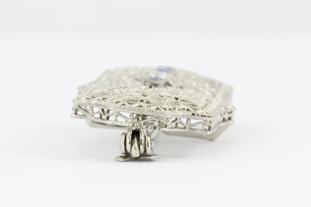 Edwardian 14K White Gold Diamond Sapphire Pendant / Brooch - Queen May
