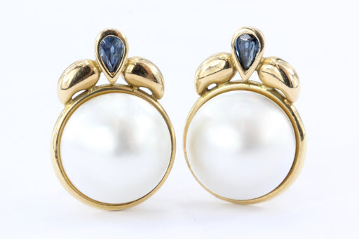 14K Gold Sapphire & 13.5 mm Mabe Pearl Earrings - Queen May