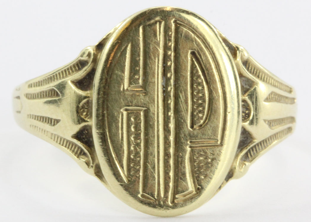 Antique 14K Gold Ostby & Barton Gothic Signet Ring HP - Queen May