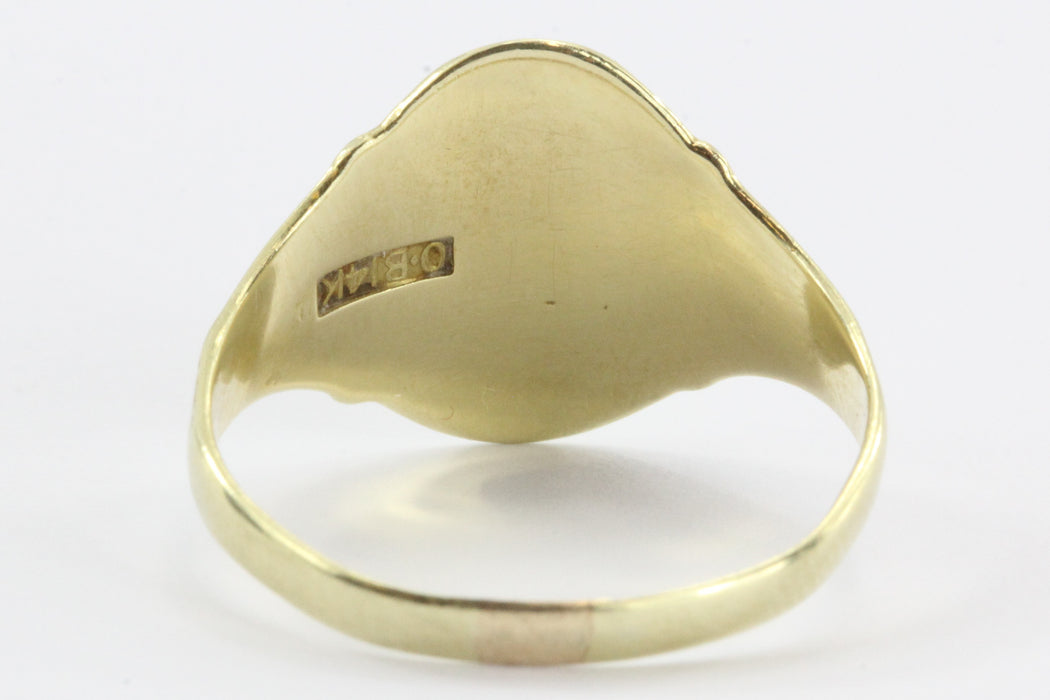 Antique 14K Gold Ostby & Barton Gothic Signet Ring HP