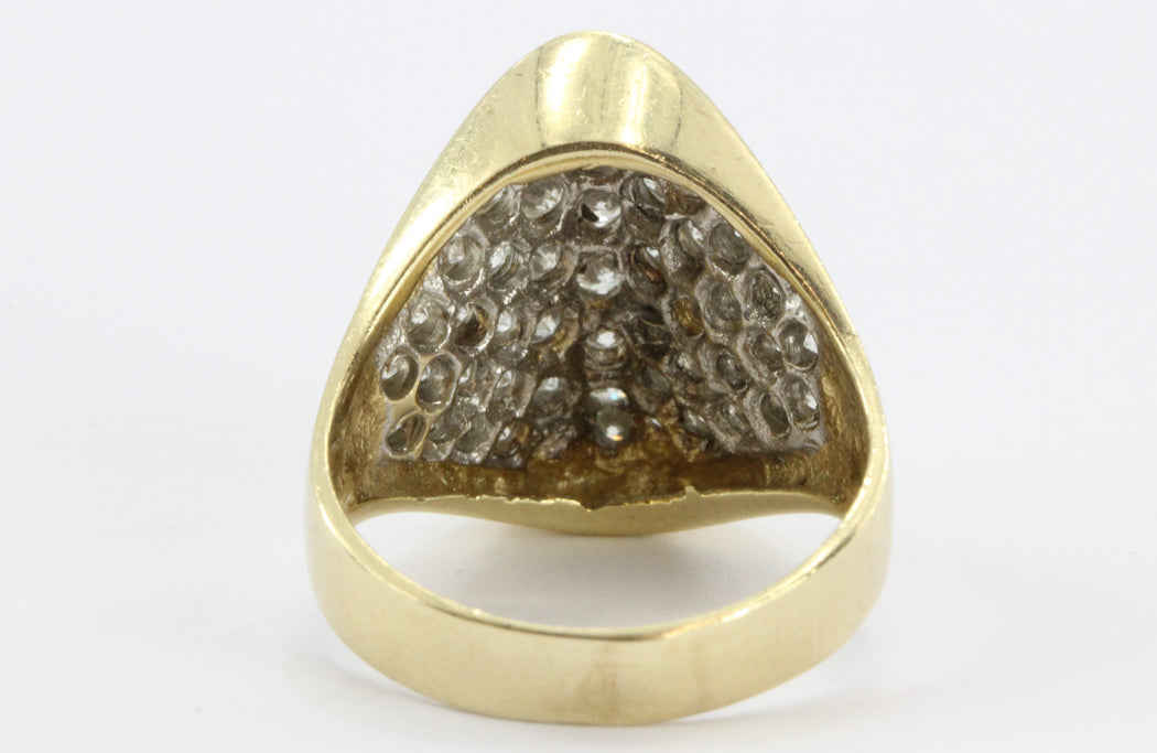 Vintage Modernist 2 CTW Diamond Cluster 14K Gold Ring - Queen May