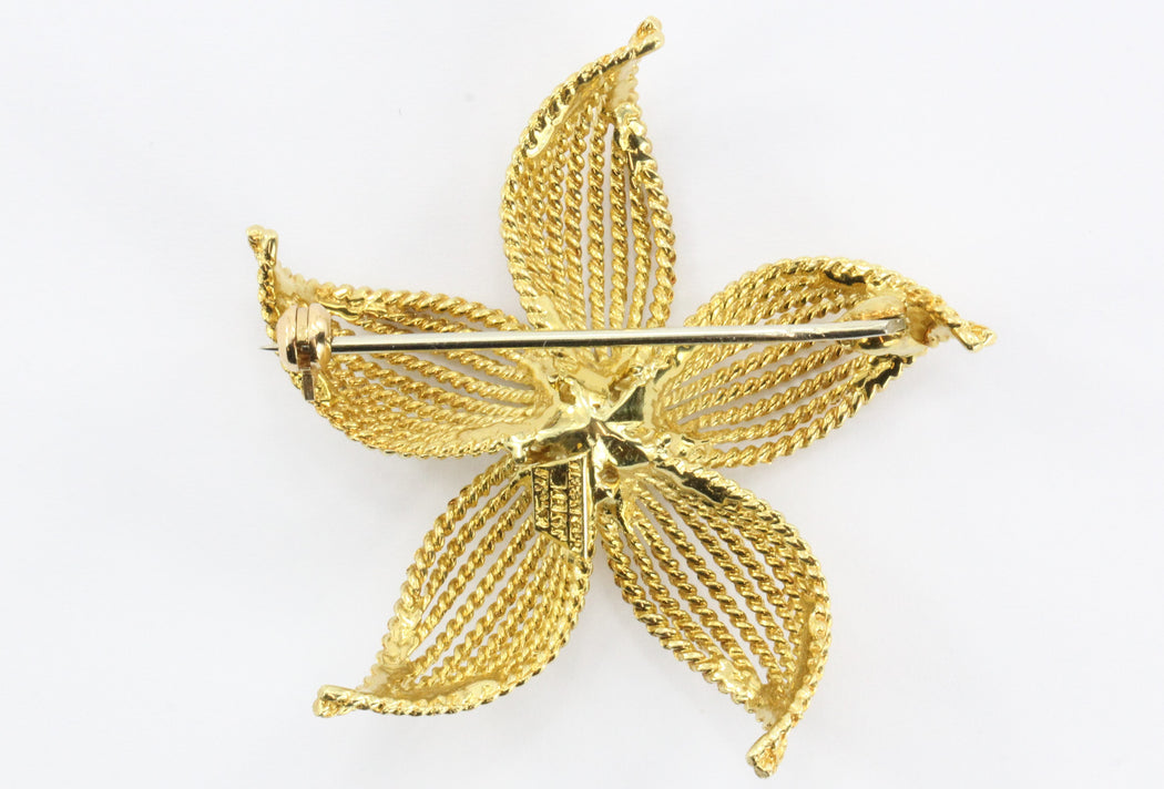 Vintage 18K Gold Tiffany & Co Flower Brooch - Queen May