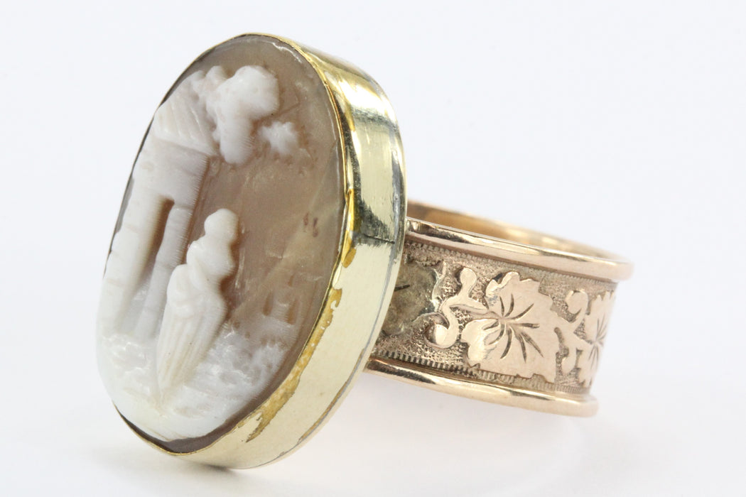 Antique Victorian 14K / 10K Gold Carved Shell Scenic Cameo Ring - Queen May