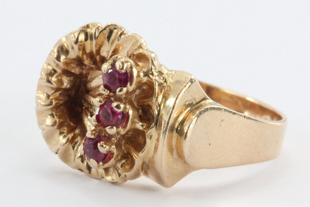 Vintage Art Deco 14K Rose Gold & Ruby Figural Flower Ring - Queen May