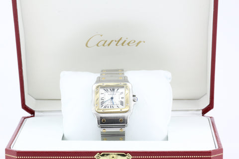 Cartier Santos Automatic Stainless Steel & 18K Gold Date Watch in Box