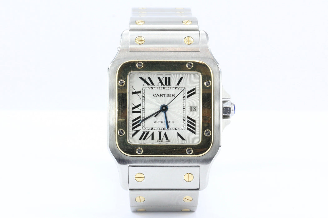 Cartier Santos Automatic Stainless Steel & 18K Gold Date Watch in Box - Queen May