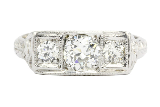 Art Deco 14K White Gold Old European Cut Diamond Three Stone Ring c.1920's - Queen May