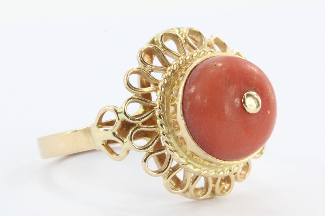 Antique Polish 14K Gold Red Coral Ring 1920 - 1931 Crakow Poland - Queen May
