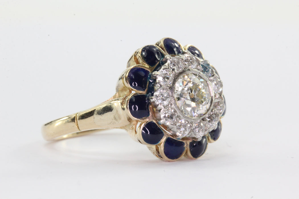 Antique Art Deco 14K Gold Old European Cut Diamond & Blue Enamel Ring - Queen May