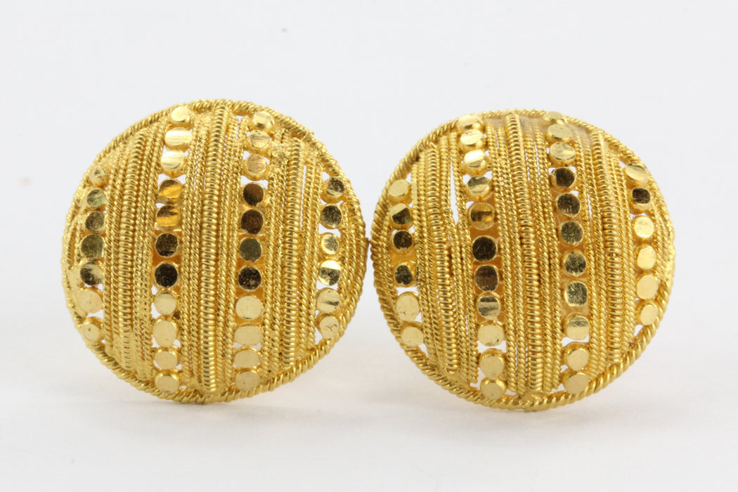 Solid 24K Gold Screw Back Earring Button Studs - Queen May