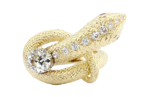 Retro 14K Gold Champagne Diamond & Ruby Coiled Snake Ring c.1950's