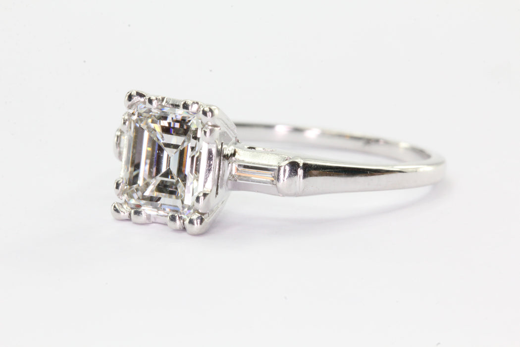 Antique Art Deco 14K White Gold 1 Carat Emerald Cut Diamond Engagement Ring - Queen May