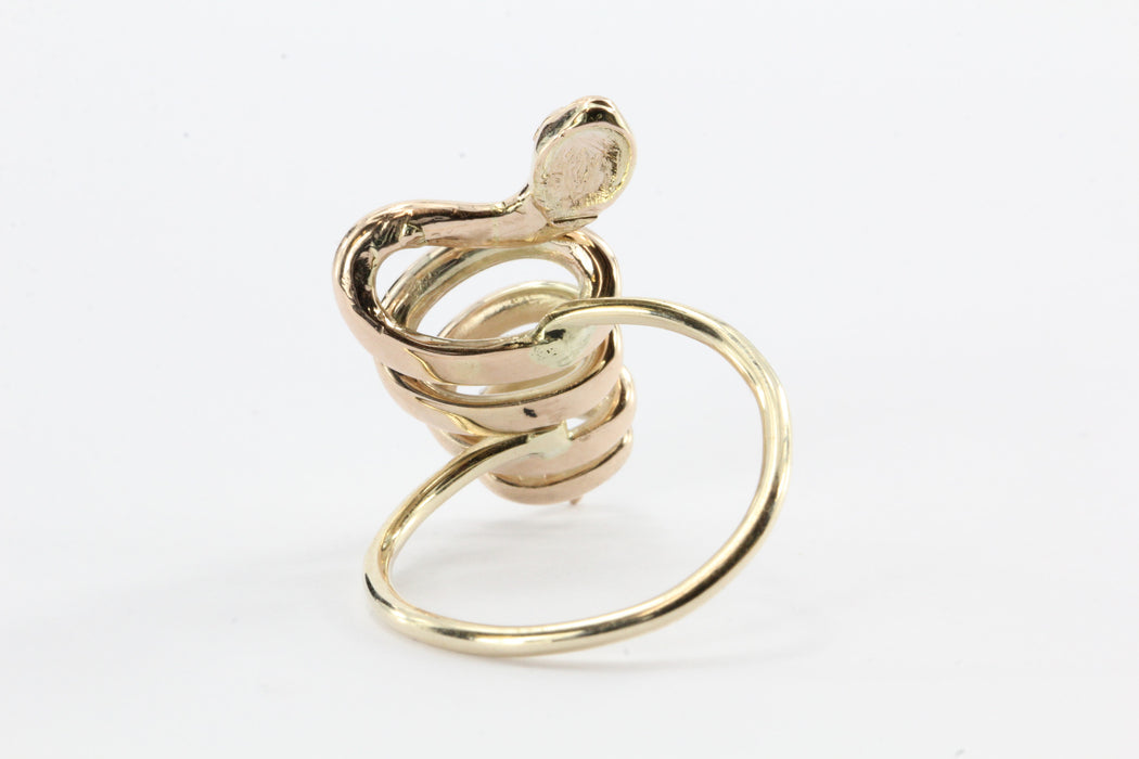 Victorian 10K Gold Curly Twisted Snake Opal Diamond Conversion Ring - Queen May