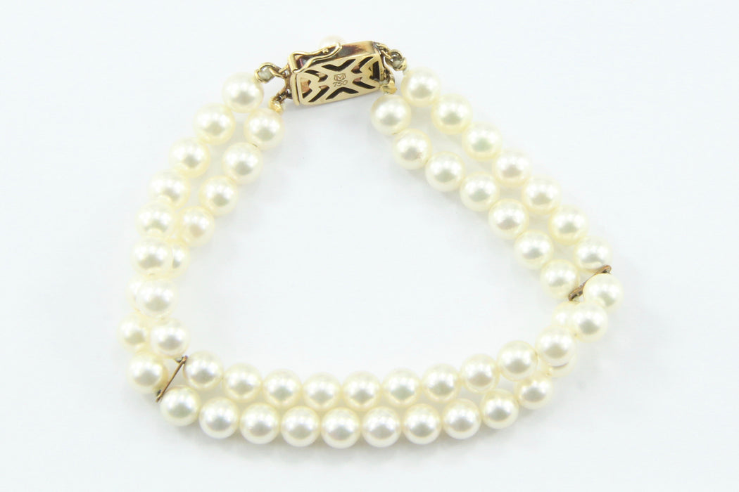 Vintage Mikimoto Double Strand Pearl 18K Gold Bracelet - Queen May