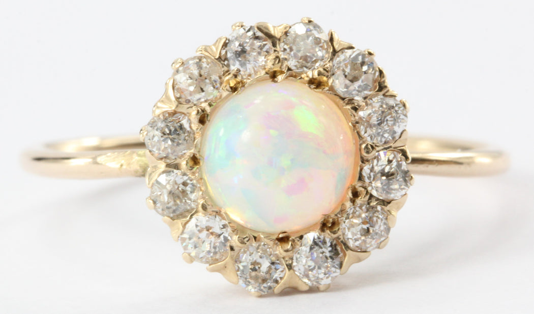 Antique Victorian 14K Rose Gold Opal & Old Diamond Diamond Conversion Ring - Queen May