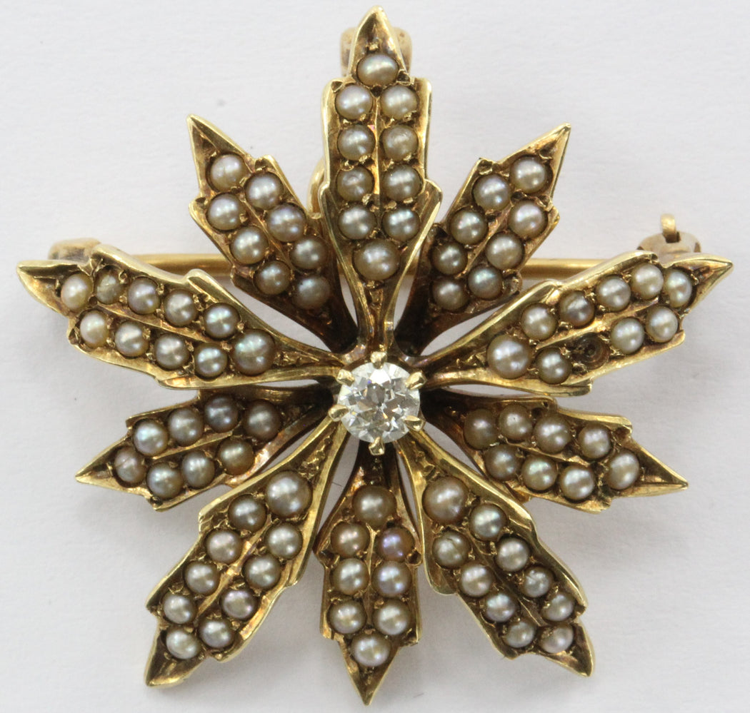 Antique 14K Gold Diamond & Seed Pearl Wolcott Manufacturing Co Pendant / Brooch - Queen May