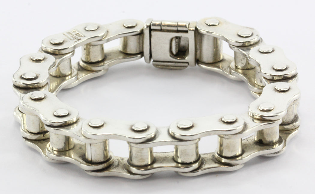 "Versani Sterling Silver Heavy Bicycle Link Chain Bracelet 7.5"" - Queen May"