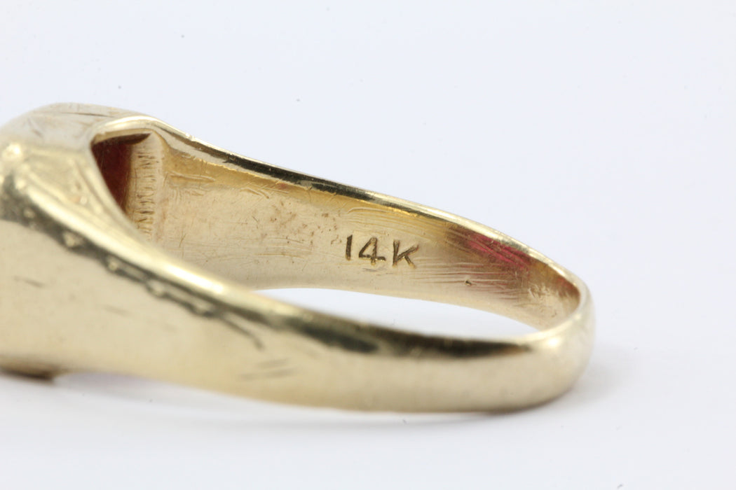 Vintage Art Deco 14K Gold & Ruby Signet Ring - Queen May