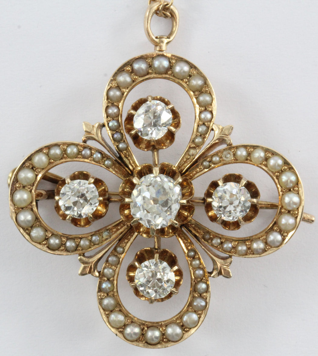 Antique 14K Gold Victorian Gothic Revival Old Mine Diamond & Seed Pearl Pendant - Queen May